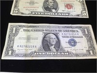 Lot of vintage paper US Currency - 1953, 1957 and