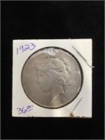 1923-D Peace Silver Dollar in flip
