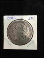 1881-S Morgan Silver Dollar in flip