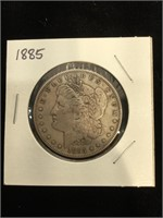 1885 Morgan Silver Dollar in flip