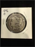 1896-O Morgan Silver Dollar in flip