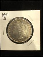 1891-S Morgan Silver Dollar in flip