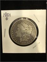 1901-O Morgan Silver Dollar in flip