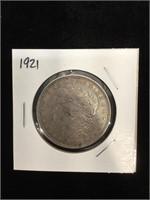 1921 Morgan Silver Dollar in flip