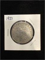 1921 Morgan Silver Dollar in flip