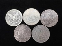 5 Morgan Silver Dollars - assorted dates and