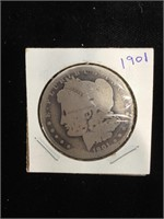 1901-O Morgan Silver Dollar in flip