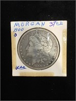 1900-O Morgan Silver Dollar in flip
