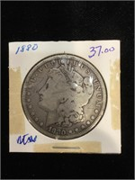 1880 Morgan Silver Dollar in flip
