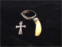 Sterling Silver cross Pendant, Tooth pendant and