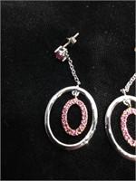 Sterling Silver dangle earrings with purple