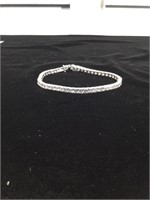 Sterling Silver bracelet with clear stones - 8in