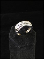 Sterling Silver ring with Diamonds - size 11