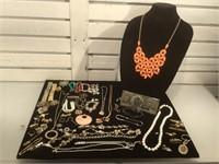 Lot of assorted costume jewelry, cufflinks, tie