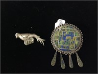 Sterling Silver Taxco Mexico brooch pendant and