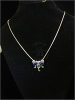 Sterling Silver Vermeil necklace with 3 Sterling