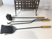 Vintage fireplace tools (tong, shove and brush)