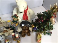 Box of assorted Christmas items and more