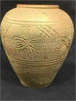 Vintage Thai etched flower Ceramic vase, approx