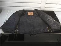 Leather jacket without sleeves by 'Kerr Leather'