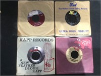 Box of 45 rpm records , inc picture sleeves,