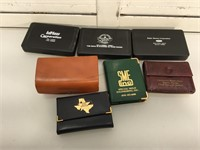 7 sets of playing cards 3 w/leather case and more