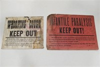 "Antique ""Infantile Paralysis"" & ""Whooping Cough"""