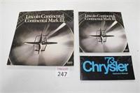 Vintage Lincoln & Chrysler Brochures
