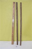 (3) Vintage Yard Sticks