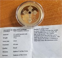2016 STATION V OF THE CROSS GOLD LAYERED COIN(206)