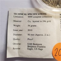 BEN FRANKLIN $100 BANKNOTE 24KT LAYERED COIN(207)