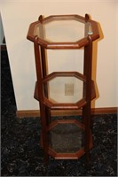 3-Level Wood & Glass Plant Stand