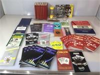 Box with books, letter opener, Hallmark ornaments