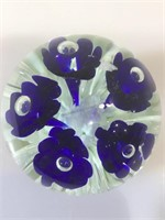 Joe Rice 2004 paperweight , blue flowers, signed