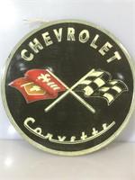 Corvette tin sign, Round blue