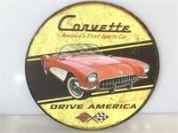Corvette tin sign, Round , red vette