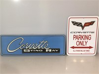 Corvette tin signs, Parkng only and Blue Sting
