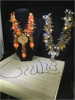 2 designer Chunky necklaces , in a Guilin wood box