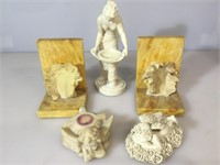 Alabaster based bookends , with 3 composition