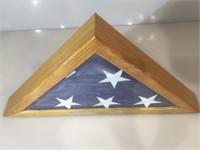American Flag in oak case, dedicated