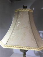 Pr Iron lamps with cloth shades
