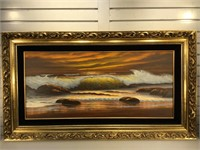 Artist signed seascape painting on canvas,