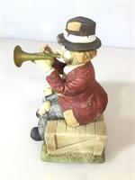 Clown bugle player sculpture