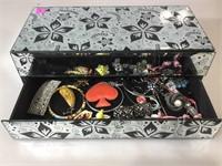 Jewelry box made of mirrors w/costume jewelry