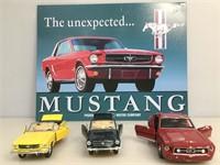 Lot of 3 Die cast cars w/mustang metal poster