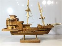Wooden boat model w/pair of clocks