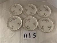 (6) Desert Plates - Pink Rose Pattern