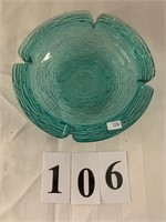 Large Glass Green / Blue Ash Tray