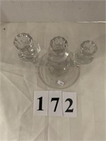 3-Candle Glass Candle Stick Holder w/ Etched Desin