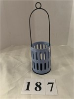 Candle Holder - Blue Pottery w/ Handle